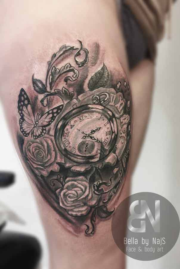 Uhr Schmetterling Vogel Tattoo