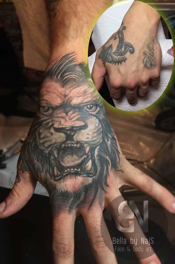 Der Löwe brüllt! Cover up mit Tiermotiv